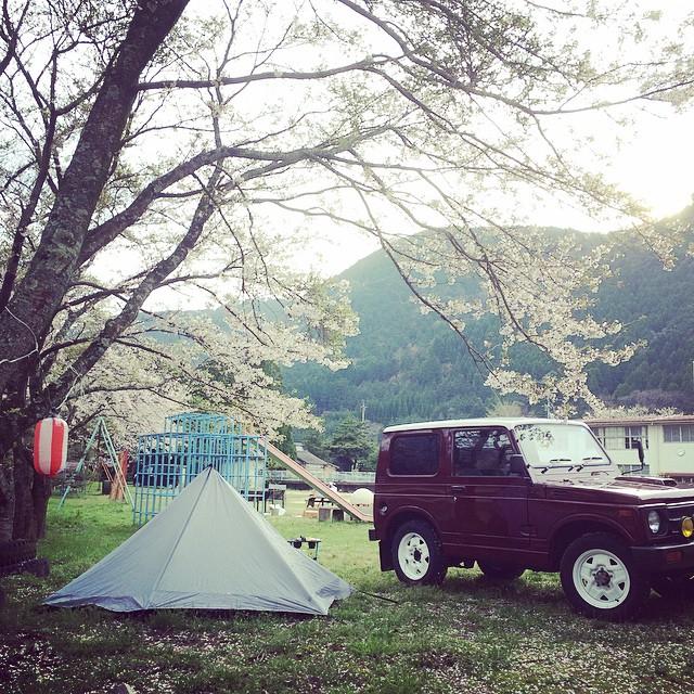 鹿野町小鷲河小学校で花見と昼寝