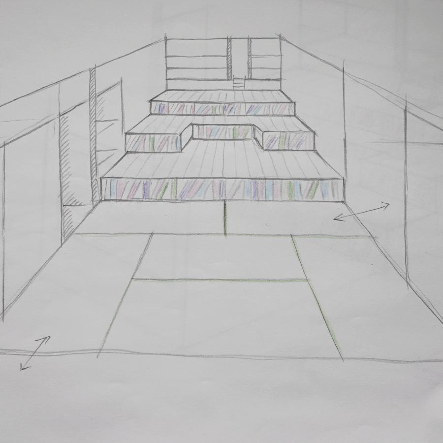 和室に階段状のベンチをつくる